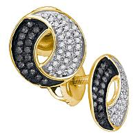10kt Yellow Gold Womens Round Black Color Enhanced Diamond Circle Cluster Earrings 1/5 Cttw