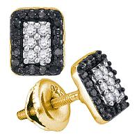 10kt Yellow Gold Womens Round Black Color Enhanced Diamond Rectangle Cluster Earrings 1/3 Cttw