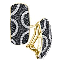 10kt Yellow Gold Womens Round Black Color Enhanced Diamond Stripe Cluster French-clip Earrings 3/4 Cttw