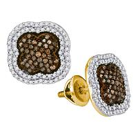 10kt Yellow Gold Womens Round Brown Color Enhanced Diamond Quatrefoil Cluster Earrings 3/4 Cttw