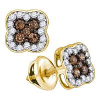 10kt Yellow Gold Womens Round Cognac-brown Color Enhanced Diamond Square Cluster Earrings 1/2 Cttw