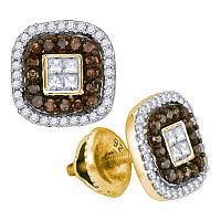 10kt Yellow Gold Womens Round Cognac-brown Color Enhanced Diamond Square Frame Cluster Earrings 1/2 Cttw