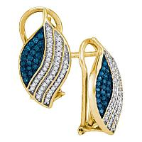 10kt Yellow Gold Womens Round Blue Color Enhanced Diamond Stripe Oval Cluster Earrings 3/8 Cttw