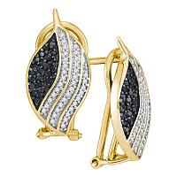 10kt Yellow Gold Womens Round Black Color Enhanced Diamond Oval Stripe Cluster Earrings 3/8 Cttw