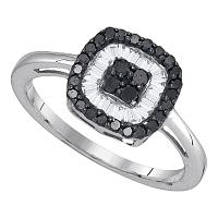 10kt White Gold Womens Round Black Color Enhanced Diamond Concentric Square Cluster Ring 3/8 Cttw
