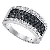 10kt White Gold Womens Round Black Color Enhanced Diamond Horizontal Stripe Band Ring 1.00 Cttw