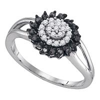 10kt White Gold Womens Round Black Color Enhanced Diamond Cluster Ring 1/4 Cttw