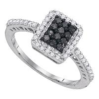 10kt White Gold Womens Round Black Color Enhanced Diamond Cluster Ring 3/8 Cttw