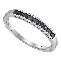 10kt White Gold Womens Princess Black Color Enhanced Diamond Band Ring 1/4 Cttw