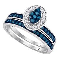 10kt White Gold Womens Blue Color Enhanced Diamond Cluster Bridal Wedding Engagement Ring Band Set 1/2 Cttw