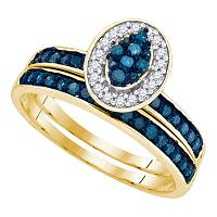10kt Yellow Gold Womens Blue Color Enhanced Diamond Cluster Bridal Wedding Engagement Ring Band Set 1/2 Cttw