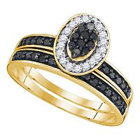 10k Yellow Gold Black Color Enhanced Diamond Womens Cluster Wedding Bridal Engagement Ring Band Set 1/2 Cttw