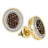 10kt Yellow Gold Womens Round Cognac-brown Color Enhanced Diamond Oval Frame Cluster Earrings 1/2 Cttw