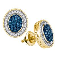 10kt Yellow Gold Womens Round Blue Color Enhanced Diamond Oval Frame Cluster Earrings 1/2 Cttw