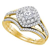 14k Yellow Gold Womens Princess Diamond Bridal Wedding Engagement Ring Band Set 3/4 Cttw