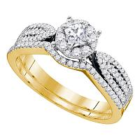 14kt Yellow Gold Womens Princess Diamond Bridal Wedding Engagement Ring Band Set 3/4 Cttw