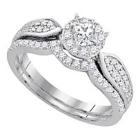 14k White Gold Womens Princess Diamond Bridal Wedding Engagement Ring Band Set 3/4 Cttw