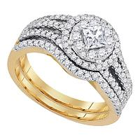 14kt Yellow Gold Womens Princess Diamond Solitaire Bridal Wedding Engagement Ring Band Set 1.00 Cttw
