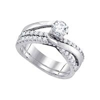 14kt White Gold Womens Round Diamond Elevated Bridal Wedding Engagement Ring Band Set 1.00 Cttw