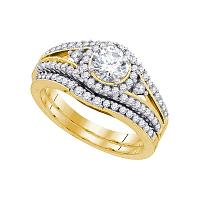 14kt Yellow Gold Womens Round Diamond Split-shank Bridal Wedding Engagement Ring Band Set 1-1/4 Cttw