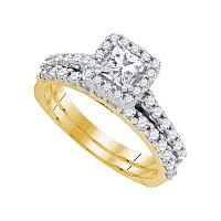 14kt Yellow Gold Womens Princess Diamond Bridal Wedding Engagement Ring Band Set 1-1/4 Cttw