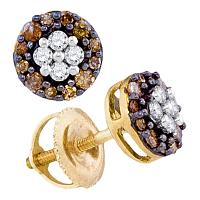 10kt Yellow Gold Womens Round Cognac-brown Color Enhanced Diamond Cluster Earrings 1/3 Cttw