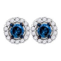 10kt White Gold Womens Round Blue Color Enhanced Diamond Solitaire Circle Frame Earrings 1/2 Cttw