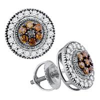 10kt White Gold Womens Round Cognac-brown Color Enhanced Diamond Cluster Stud Screwback Earrings 5/8 Cttw