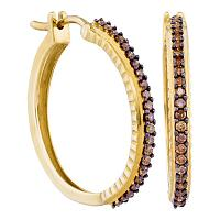 10kt Yellow Gold Womens Round Cognac-brown Color Enhanced Diamond Single Row Hoop Earrings 1/2 Cttw
