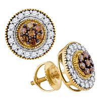 10kt Yellow Gold Womens Round Cognac-brown Color Enhanced Diamond Cluster Screwback Earrings 5/8 Cttw
