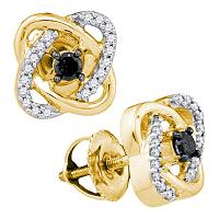 10kt Yellow Gold Womens Round Black Color Enhanced Diamond Solitaire Oval Frame Earrings 1/4 Cttw