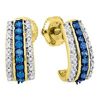 10kt Yellow Gold Womens Round Blue Color Enhanced Diamond Half J Hoop Earrings 1/3 Cttw