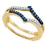 10kt Yellow Gold Womens Round Blue Color Enhanced Diamond Ring Guard Wrap Enhancer Band 1/5 Cttw