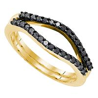 10kt Yellow Gold Womens Round Black Color Enhanced Diamond Ring Guard Wrap Solitaire Enhancer 1/3 Cttw