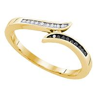 10k Yellow Gold Black Color Enhanced Diamond Womens Slender Bypass Band Ring Unique 1/10 Cttw
