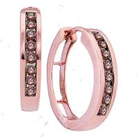 10kt Rose Gold Womens Round Cognac-brown Color Enhanced Diamond Hoop Earrings 1/2 Cttw