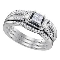 10kt White Gold Womens Princess Diamond 3-Piece Bridal Wedding Engagement Ring Band Set 1/4 Cttw