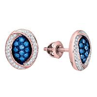 10kt Rose Gold Womens Round Blue Color Enhanced Diamond Oval Cluster Earrings 1/3 Cttw