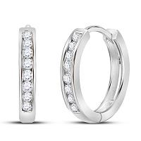 10kt White Gold Womens Round Diamond Hoop Earrings 1/4 Cttw