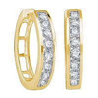 10kt Yellow Gold Womens Round Diamond Hoop Earrings 1.00 Cttw