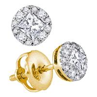 14kt Yellow Gold Womens Princess Diamond Stud Earrings 1/3 Cttw