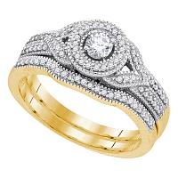 10kt Yellow Gold Womens Diamond Round Bridal Wedding Engagement Ring Band Set 3/8 Cttw