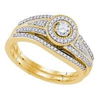 10k Yellow Gold Womens Round Diamond Halo Bridal Wedding Engagement Ring Band Set 3/8 Cttw