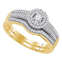 10k Yellow Gold Womens Round Diamond Halo Bridal Wedding Engagement Ring Band Set 1/3 Cttw
