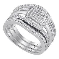 10kt White Gold Womens Round Diamond Square Bridal Wedding Engagement Ring 3-Piece Set 1/3 Cttw