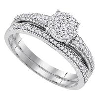 10k White Gold Womens Diamond Cluster Bridal Wedding Engagement Ring Band Set 1/4 Cttw