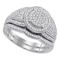 10k White Gold Womens Round Diamond Cluster Bridal Wedding Engagement Ring band Set 1/2 Cttw