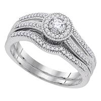10k White Gold Womens Round Diamond Halo Bridal Wedding Engagement Ring Band Set 1/3 Cttw
