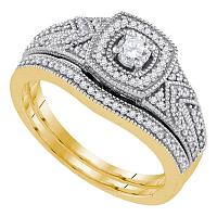 10k Yellow Gold Womens Round Diamond Filigree Bridal Wedding Engagement Ring Band Set 3/8 Cttw