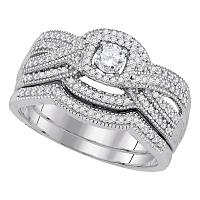 10kt White Gold Womens Round Diamond Twist Milgrain Bridal Wedding Engagement Ring Band Set 1/2 Cttw